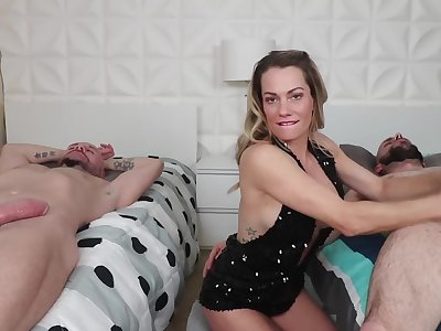 Impassive relaxes boys better later on a simultaneous handjob by MILF