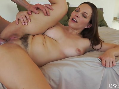 Sexual delight for a woman with trimmed cunt