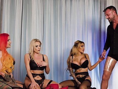Stimulated women share penis in dirty group XXX