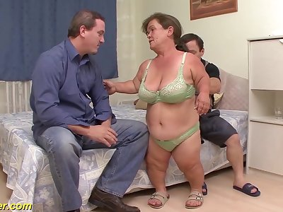 Chubby flexible mature midget increased by her midget husband in their first threesome fuck orgy