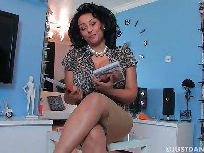 Horny MILF Danica Collins enjoys flashing her pussy be fitting of someone's skin camera