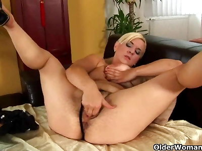 Mature mom with hard nippled big tits and full bushed pussy