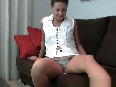 Granny gets her hard nipples and hairy pussy fondled by photographer