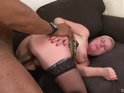 Busty mature takes black cock for granted