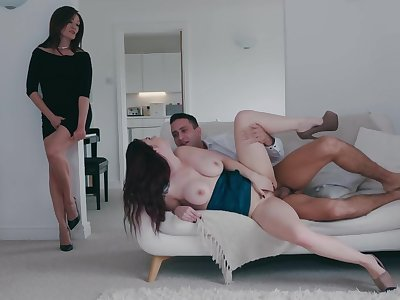 Milf joins the busty daughter for a bit of hard sex