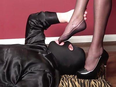 Pvc black mini dress, presumptuous heels, nylons, blowjob, fuck