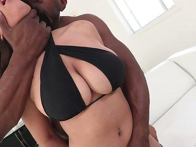 Ill Latina bitch with impressive big boobies Ella Knox loves interracial sexual congress