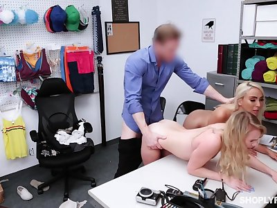 Security guy punishes shoplifting stepmom Kylie Kingston and will not hear of yummy stepdaughter