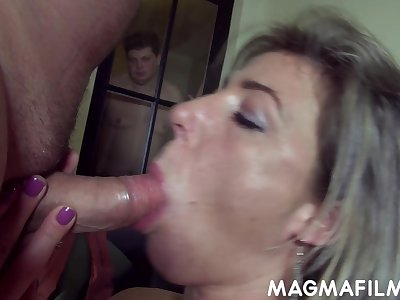 Regular cuckolding session of a feminised man at the end of one's tether his sex starved wifey