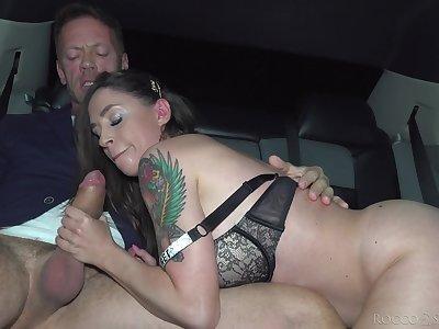 Rocco Siffredi gives slutty Malena the big dick treatment in a limo