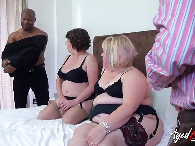 Group trash porn sheet featuring team a few chubby venerable housewives in sexy outfits