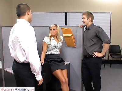 Nearly deserve steamy doggy banging office slut Lilly Kingston sucks two dicks
