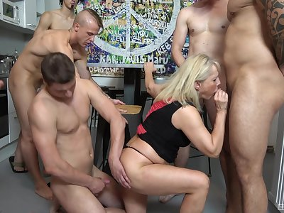 Gangbang perfection with a mature soft on dicks