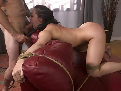 Wife gagged and merciless fucked during home charm XXX