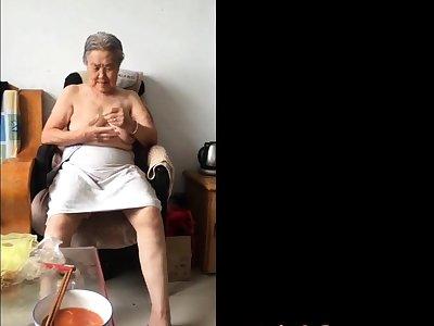 Asian 80+ Granny After bath