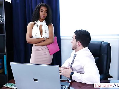 Gorgeous, black chick, Jenna Foxx likes to have sex with say no to boss, as as a last resort as possible