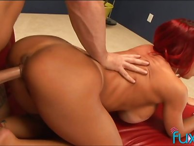 Giant breasted redhead MILF with chunky plunder is made to drove cock