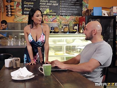 Busty barista is in for a naughty action with the generous customer