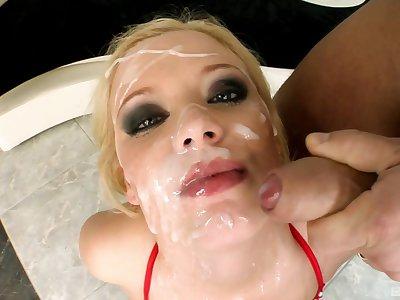 Video of nasty blondie Bread Blond having an oral gangbang
