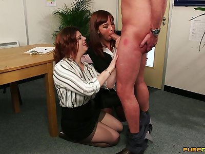 Old lady shares cock with the new unreserved in the office