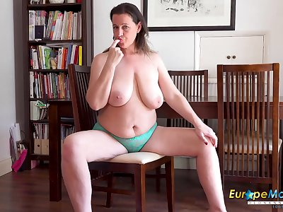 Solo striptease stroking and fingering of horny mature lady all round Brobdingnagian natural interior