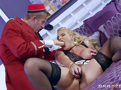 Wild woman Phoenix Marie treats a young commissioner to a surprising shag
