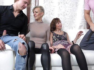 Naughty mature sluts Iveta Stepanova and Lucy Blond in orgy