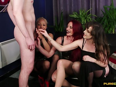 Ella Bella increased by other hotties discreditable a guy with a small equipment