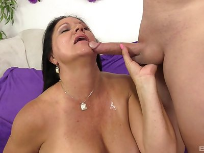 Mature battle-axe Laylani Wood gets her leathery pussy filled up