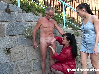 Old man roughly fucks these bitches in public XXX scenes