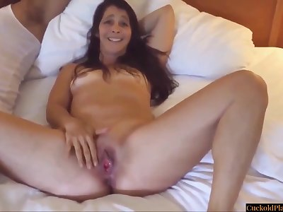 Alluring Wife Enjoying BIG BLACK PENIS While Cuckold Hubby Jerks Off
