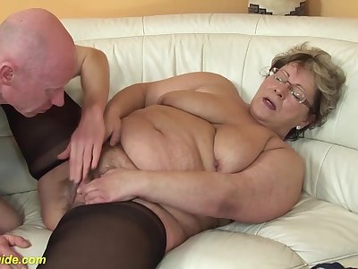 Ugly fat nurturer in hot nylon stockings gets deep fucked with her big cock friend