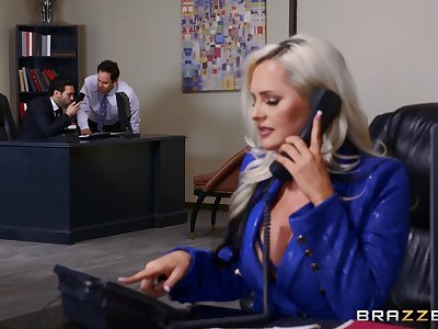 Fine office secretary goes full mode with burnish apply boss and one of his partners