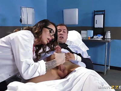MILF in all directions sexy glasses, denuded porn in all directions one of her patients