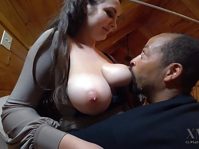 Hot breastfeeding - Big white tits on touching interracial milking fetish