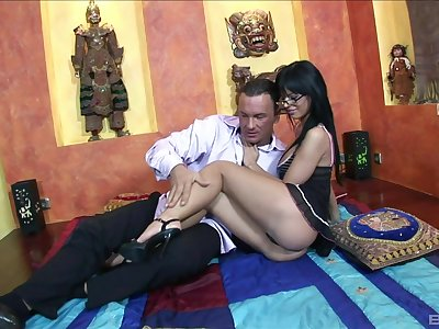 Brunette down sexy glasses, nice display of pure porn down an older man