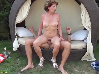 Well-endowed skinny 76 years old grandma gets extreme wild outdoor birthday banged