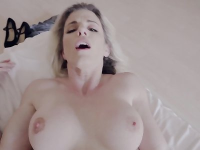 Busty MILF Cory Chase drops her red dress for a passionate sex