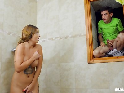Teen pal fucks his stepmom verification spying on her at the shower