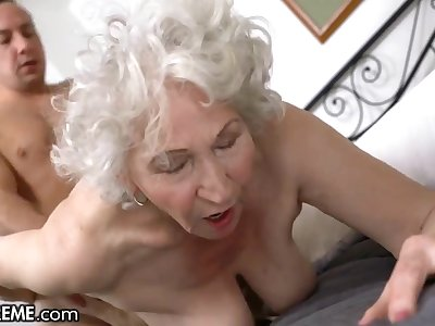 Horny Chap Helping The Old Granny Next Door - Big of age pain in the neck